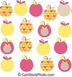 Apple  fruit   fantasy seamless pattern. It is located in swatch menu, vector image. Cute tile background for design. Abstract backdrop.