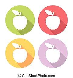 Apple Fruit Flat Icons Set