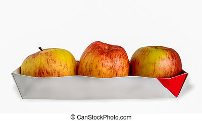Apple - Fruit, Flat Lay, Red, Yellow, Above