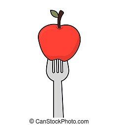 apple fruit fork
