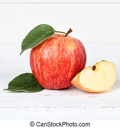 Apple fruit fruits red square on wooden board