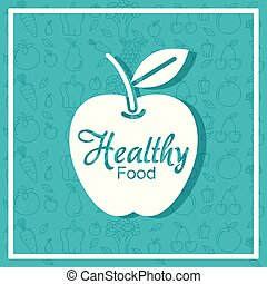 apple fruit poster with healthy food pattern