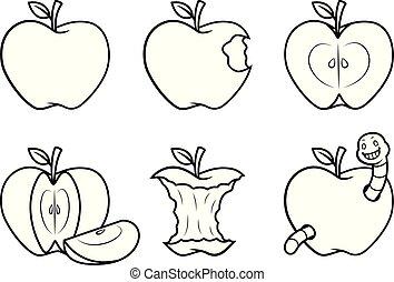 Apple fruit vector cartoon BW
