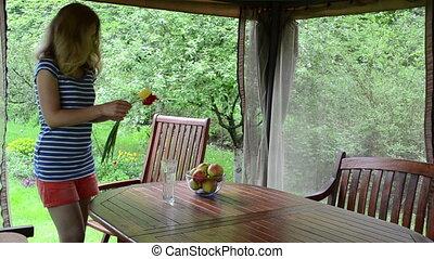apple fruit woman flower - Blond woman soak dap freshly...