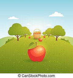 Apple garden illustration
