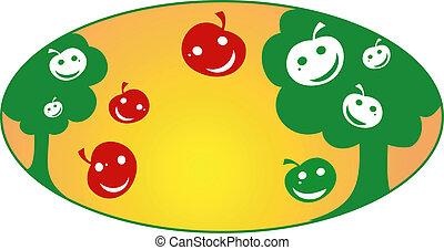 Apple garden, vector