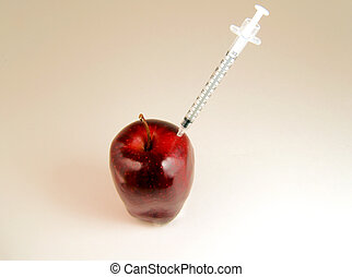apple getting injection - Red apple getting injection