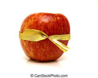 Apple gift with ribbon