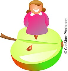 apple girl - happy woman sitting on half an apple -...