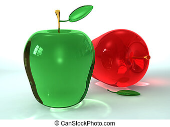 Apple Glass - Two Apples of glass one red nad one green