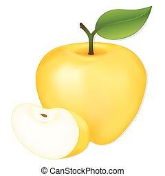 Golden Delicious apple and ripe slice, fresh, natural orchard garden fruit isolated on white background.