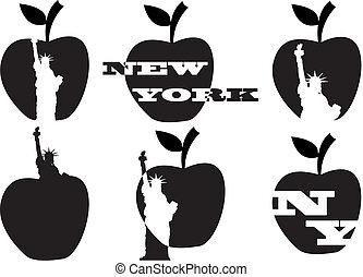 apple grande, e, estatua liberdade