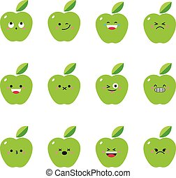 Apple green modern flat emoticon set