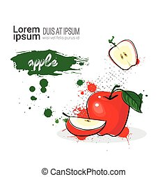Apple Hand Drawn Watercolor Fruit On White Background With Copy Space
