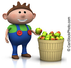 apple harvest - boy - boy standing next to a basket full of...