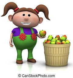 apple harvest - girl - girl standing next to a basket full...