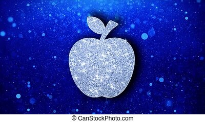 Apple Icon Blinking Glitter Glowing Shine Particles. - Apple...