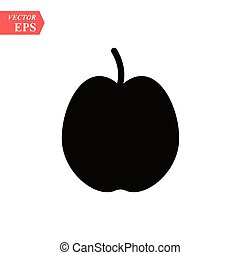 Apple icon in black silhouette style. Vector illustration with apple isolated on white background. black silhouette fruit object for web