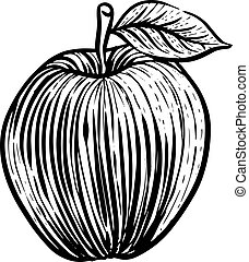 Apple icon in sketch style.