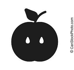 Apple Icon in trendy flat style. Vector illustration