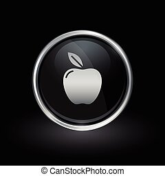 Apple icon inside round silver and black emblem