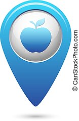 Apple icon on blue map pointer