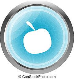 Apple Icon on Internet Button Original Illustration