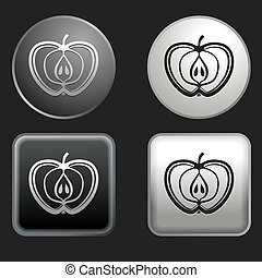 apple icon on round and square buttons
