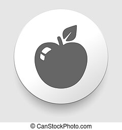Apple Icon on Round Button Illustration
