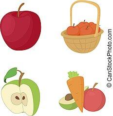 Apple icon set, cartoon style