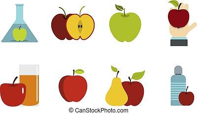 Apple icon set, flat style