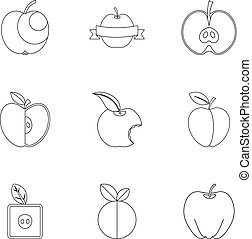 Apple icon set, outline style