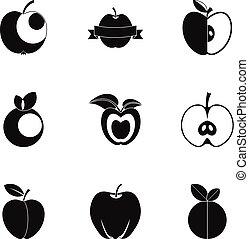 Apple icon set, simple style