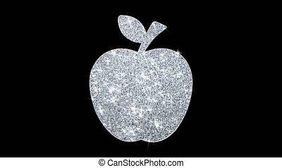 Apple Icon Shining Glitter Loop Blinking Particles .