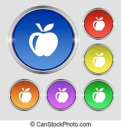 Apple icon sign. Round symbol on bright colourful buttons. Vector