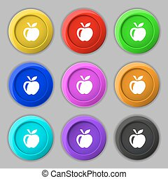 Apple icon sign. symbol on nine round colourful buttons. Vector