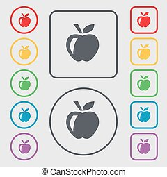 Apple icon sign. symbol on the Round and square buttons with frame. Vector