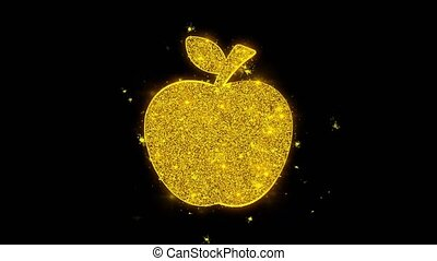 Apple Icon Sparks Particles on Black Background.