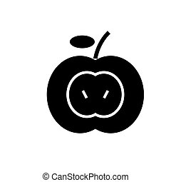 apple icon, vector illustration, black sign on isolated background