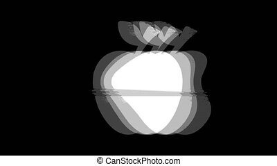 Apple icon Vintage Twitched Bad Signal Animation.