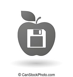 Apple icon with a floppy disk