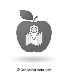 Apple icon with a map