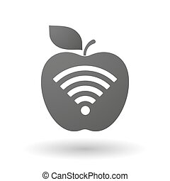 Apple icon with a radio signal sign