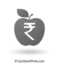 Apple icon with a rupee sign