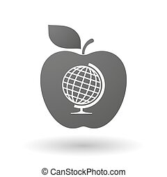 Apple icon with  a table world globe