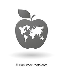 Apple icon with a world map