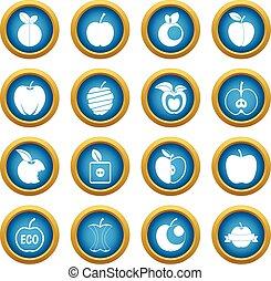 Apple icons blue circle set