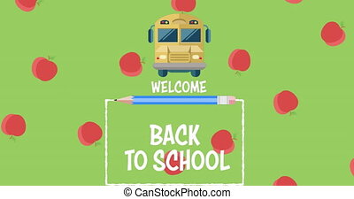 Apple icons falling against welcome back to school text on green background