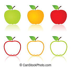 Set of icons of apples. A vector illustration