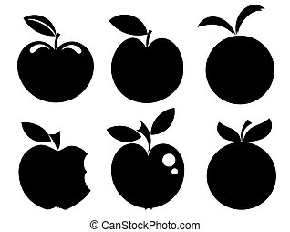 Apple icons - Set of various apple silhouettes icons vector ...